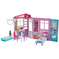 Barbie - Casa Portatile Piccola con Piscina e Accessori